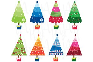 Colorful Christmas Tree Element