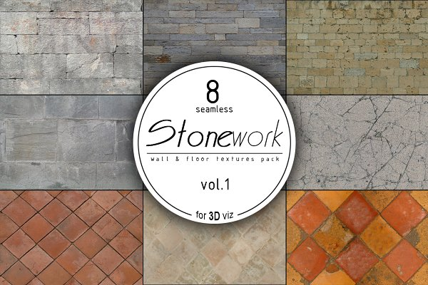 3D Tile - 8 stone seamless HD textures