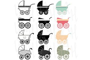 Vintage Baby Carriage Clipart