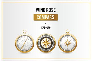 Golden vintage wind rose compasses