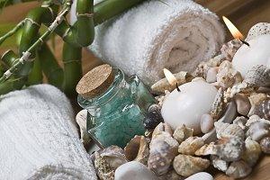 Spa items and seashells.