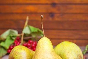 Autumn pear on the table