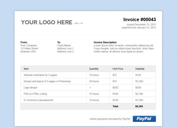 Simple HTML Invoice Template Stationery Templates Creative Market - Html invoice template