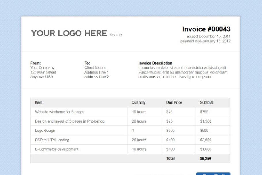 Simple Html Invoice Template Creative Photoshop Templates Creative Market