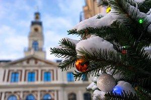 Town hall of Riga and Christmas tree