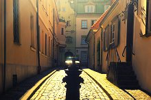 Cobbled narrow street in Riga