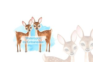 Fawns. Watercolor