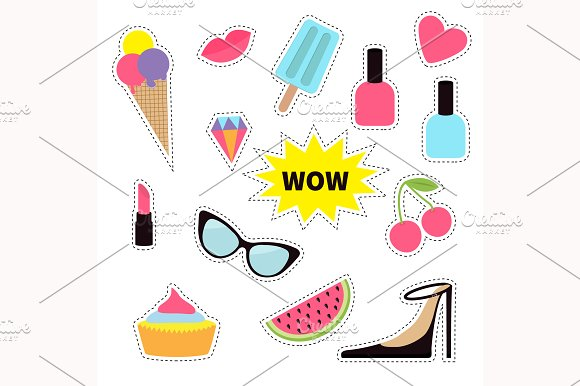 Sticker patch. Fashion pin - Illustrations
