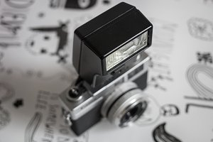 vintage film camera with flash