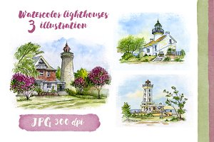 Collection of watercolor lighthouses
