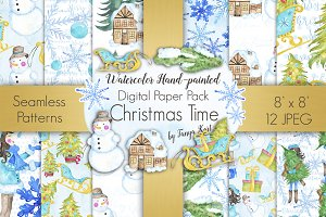 Christmas Time Digital Paper Pack