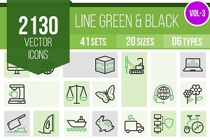 2130 Line Green & Black Icons (V3)