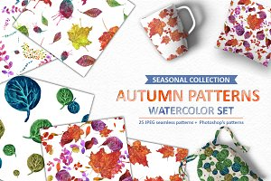 """Watercolor leafs"" seamless patterns"