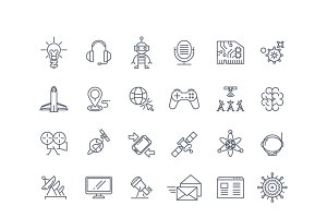 Technologies and science line icons