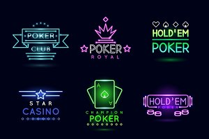 Neon light gambling emblems