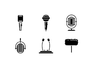 Microphone black icons vector set