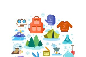 Composition of winter flat icons