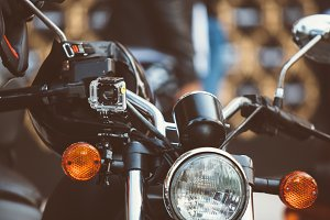 Motorbike with helmet in close up