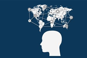 Social media, world map, human head
