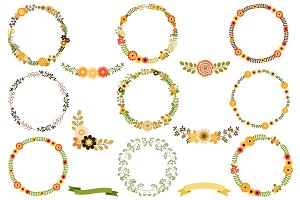 Flower wreaths clip art set