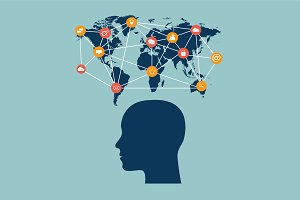 Human head, world map, social media