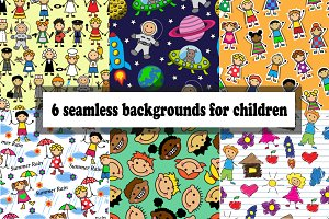 seamless background with kids