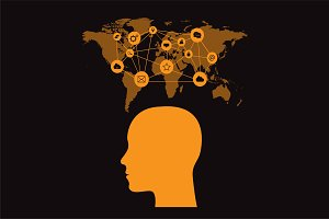 Human head, media icons, map orange