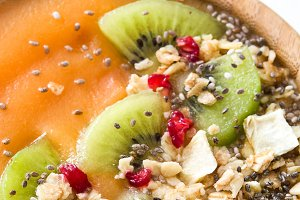 Smoothie with fruit,cereals and chia