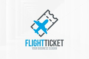 Flight Ticket Logo Template