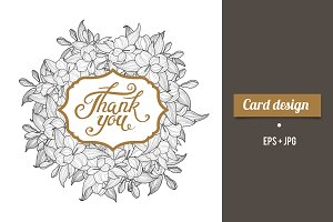 Thank You card design with lettering