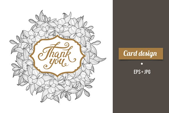 Thank you card design with lettering card templates creative market spiritdancerdesigns Images