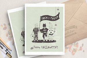 Halloween card with cute kids