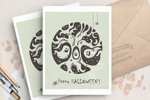 Halloween card with ghosts
