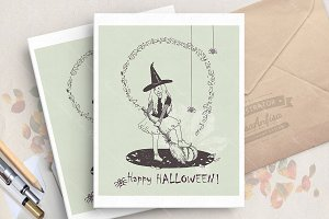 Halloween card with cute witch