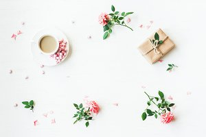 Gift, coffee, flowers