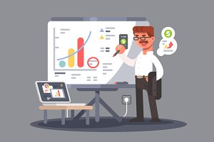 Business analyst shows presentation