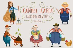 Family farm. Cartoon characters