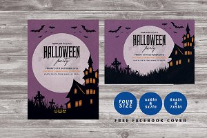 Vintage Halloween Party Flyer + FB