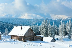 Winter mountain rural landscape