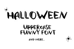 Funny uppercase font. And doodles.
