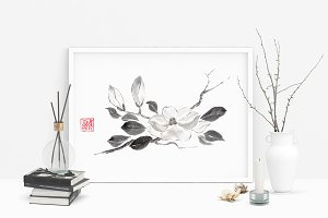 White queen magnolia ink painting