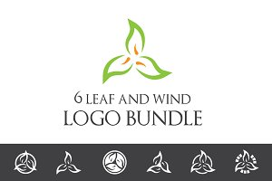 Leaf and Wind Logo Bundle