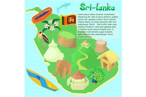 Sri lanka map, cartoon style