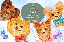 watercolor , cute dogs