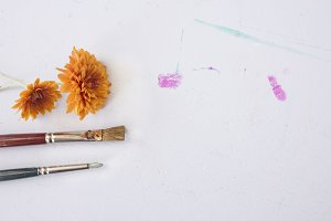 Fall Flowers & Paint Brushes