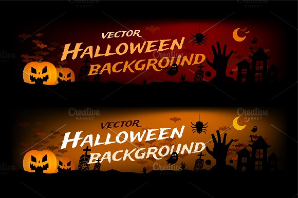 Halloween banner vector background ~ Illustrations ~ Creative Market