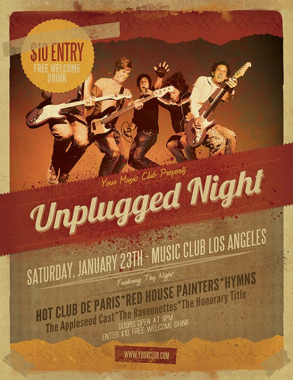 Unplugged Gig Flyer Template ~ Flyer Templates ~ Creative Market