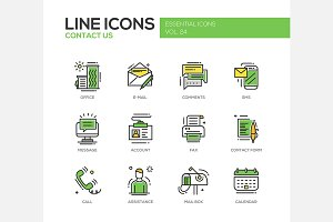 Contact Us - Line Icons Set