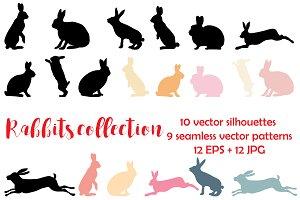 Rabbit vector silhouettes set