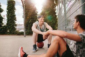 Streetball players taking rest